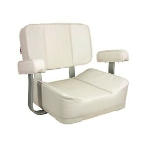 Springfield White Deluxe Helm Boat Captain Seat 1040002 w Aluminum Armrest Boat