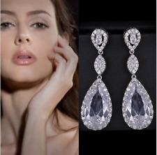 18K White Gold F Chandelier AAA Zircon Double Teardrop Earrings Bridal Jewelry