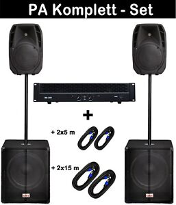 4400 Watt PA MUSIKER DJ SOUNDANLAGE KOMPLETT MUSIKANLAGE mit  Kabel AKTION