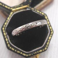 ART DECO DIAMOND FULL ETERNITY BAND / RING in 18ct WHITE GOLD size M 1/2