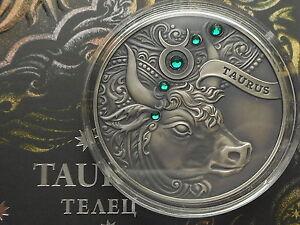 Belarus  Weißrussland  20 rubel 2014 Taurus Zodiac  Silver  crystals