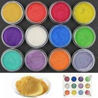 12PCS Colors Mica Pigment Powder Metal Sparkle Shimmer CL Paint-Grit-Cry H3Y4