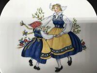 "7.5"" collector's plate ""Sverige"" Rorstrand of Sweden mother & daughter J.L. 0682"