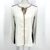 Size 10P Ann Taylor Petite Women's Sheer Black and White Long Sleeve Blouse C019