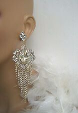 """GOLD CLEAR CRYSTAL CHANDELIER  CLIP ON EARRINGS PAGEANT BRIDAL DRAG QUEEN    5""""L"""