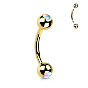 1pc Double Iridescent Stone Eyebrow Ring Surgical Steel Pierced Curved Barbell