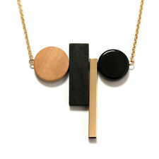 Jewelry Alloy Long Necklace Gold Chain Geometric Pendant Wood