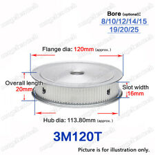 3M-120T Timing Pulley Idler without Bearing 8-25mm Bore 3mm Pitch for 15mm Belt