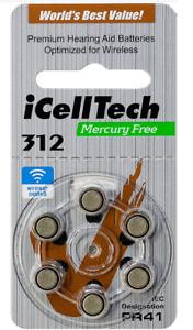 60 x iCellTech Size 312 PR41 P312 MF Zinc Air Hearing Aid Batteries Expires 2025