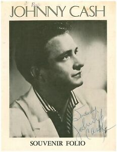 VINTAGE JOHNNY CASH SIGNED SOUVENIR FOLIO AUTOGRAPH 1956 COUNTRY MUSIC LEGEND