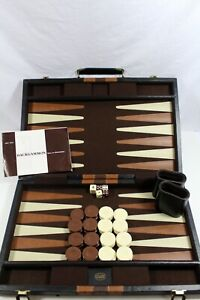 Vintage Reiss Games Backgammon Set in Faux Leather Travel Case 1970s