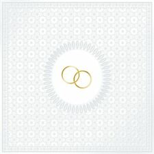 "WHITE WEDDING EMBOSSED GOLD RINGS PACK OF 15 PAPER NAPKINS SERVIETTES 13""X13"""