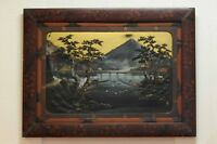 Large Japanese Painting witf Relief 'Mount Fuji' Antique Meiji Ca 1900