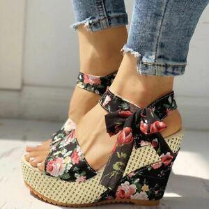 Women Platform Wedge High Heels Flower Lace Bowknot Sandals Open Toe Shoes Party