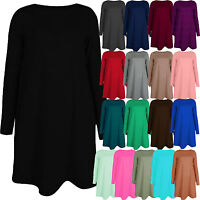 Womens Ladies Plain Long Sleeve Swing Dress Midi Skater A-Line Flared Tea Party