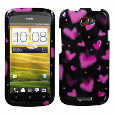 For T-Mobile HTC ONE S HARD Protector Case Snap Phone Cover Black Chalk Hearts
