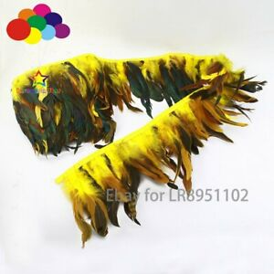 1/10 Meter Width 14-20 CM Dyed Yellow Chicken Rooster Tail Cock Schlappen Dress