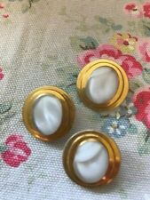 3 Vintage White Moonglow Glass Buttons Gold Boarder