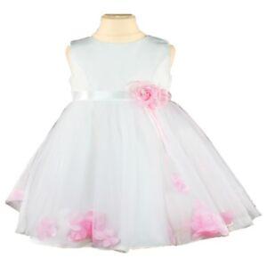 New Corsage Flower Bridesmaid Princess Wedding Girls Dress Party Kids Baby Pink