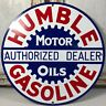VINTAGE ENAMEL METAL HUMBLE GASOLINE PORCELAIN OIL AUTHORIZED DEALER GAS SIGN
