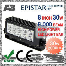 "8"" 30W A&B 10-LED WORK LIGHT BAR OFF ROAD LAMP 9-32V FLOOD BEAM 2000LM"