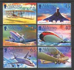 Alderney 2003 Aviation/Concorde/Planes/Aircraft/Transport/Wright 6v set (s4273)