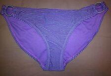CONVERSE ONE STAR Women's Swimsuit Bikini Bottom Black/Purple Striped Size M NEW