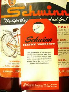 vintage schwinn bicycle  90 day service warenty bike handle bar hangercard print