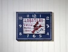 LOBSTERS FRESH OFF THE BOAT, Wall Clock, Seafood Nautical Beach Coastal Decor