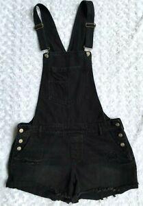 CI SONO Womens Black Distressed Bib Overall Shorts Shortalls (Size XL)
