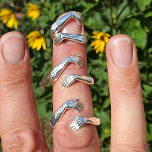 Fashion 925 Silver Love Hug Ring Band Open Finger Fully Adjustable Jewelry New