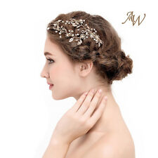 AWEI Elegant Climbing Leaf Crystal Hair Comb Wedding Headpiece Accessories