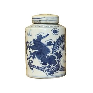Chinese Blue White Ceramic Dragon Graphic Container Urn Jar ws812
