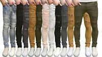 Soulstar Mens Designer Stretch Skinny Fit Biker Distressed Ripped Jeans, BNWT