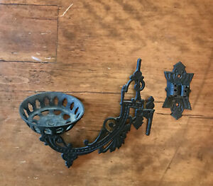 Vintage Gothic  Wrought Iron Wall Hanging Oil Lamp Holder