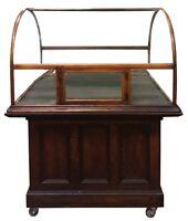 Antique Original Curved Glass Showcase on Oak Cabinet