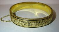 Vintage Bracelet Bangle Gold Filled Floral Etruscan Jewelry Hayward 1/20 10K GF