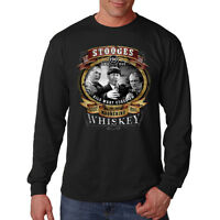 Three Stooges Moonshine Whiskey Larry Moe & Curly Long Sleeve T-Shirt Tee