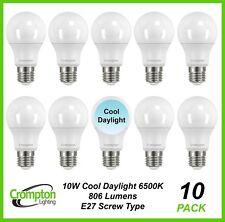 10 x 10W LED Light Globes Bulbs Lamps A60 GLS Cool Daylight 6500K E27 Screw ES