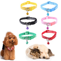 Giraffe Cute Animal Print Cat Kitten Adjustable Collar Bell Snap Buckle Puppy UK