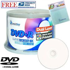 50 Smartbuy DVD+R DL 8X 8.5GB White Inkjet Printable Disc+FREE Micro Fiber Cloth