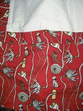"""Custom Fire Man House Dalmatian Fireman Red Bedskirt Full / Double 15 - 16"""" Drop"""