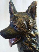 Vintage Cast Iron Bronze German Shepherd Dog Bookend or Door Stop