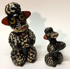 Redware Black Poodle Mother Dog with Pup Japan Vintage Handpainted