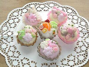 Deko Muffin Pralinen Filz Cupcake Törtchen für Tilda Shabby Landhaus Handarbeit