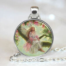 Vintage angel Cabochon Tibetan Silver Necklace for men woman Jewelry women