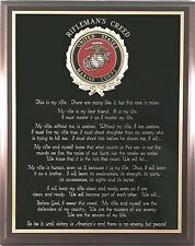 US MARINE CORPS GIFT ~ MARINE RIFLEMAN'S CREED WALL PLAQUE - Can be Personalized