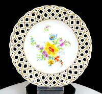 "CARL THIEME POTSCAPPEL PORCELAIN DRESDEN FLOWER RETICULATED 6.25"" PLATE 1888"