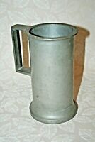 "Antique 1800s ""LD"" Marked ""Litre"" French 7.25"" Heavy Pewter Tankard Stein Mug"