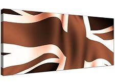 Brown Modern Canvas Picture of Union Jack Flag  - 120cm x 50cm - 1011